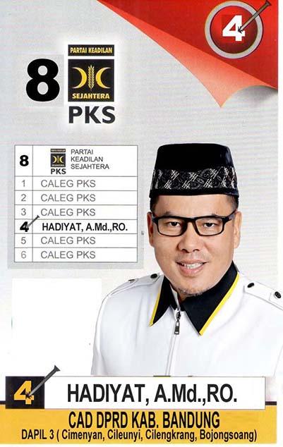 Hadiyat PKS, Calon Legislatif DPRD Kabupaten Bandung 2019 Dapil 3