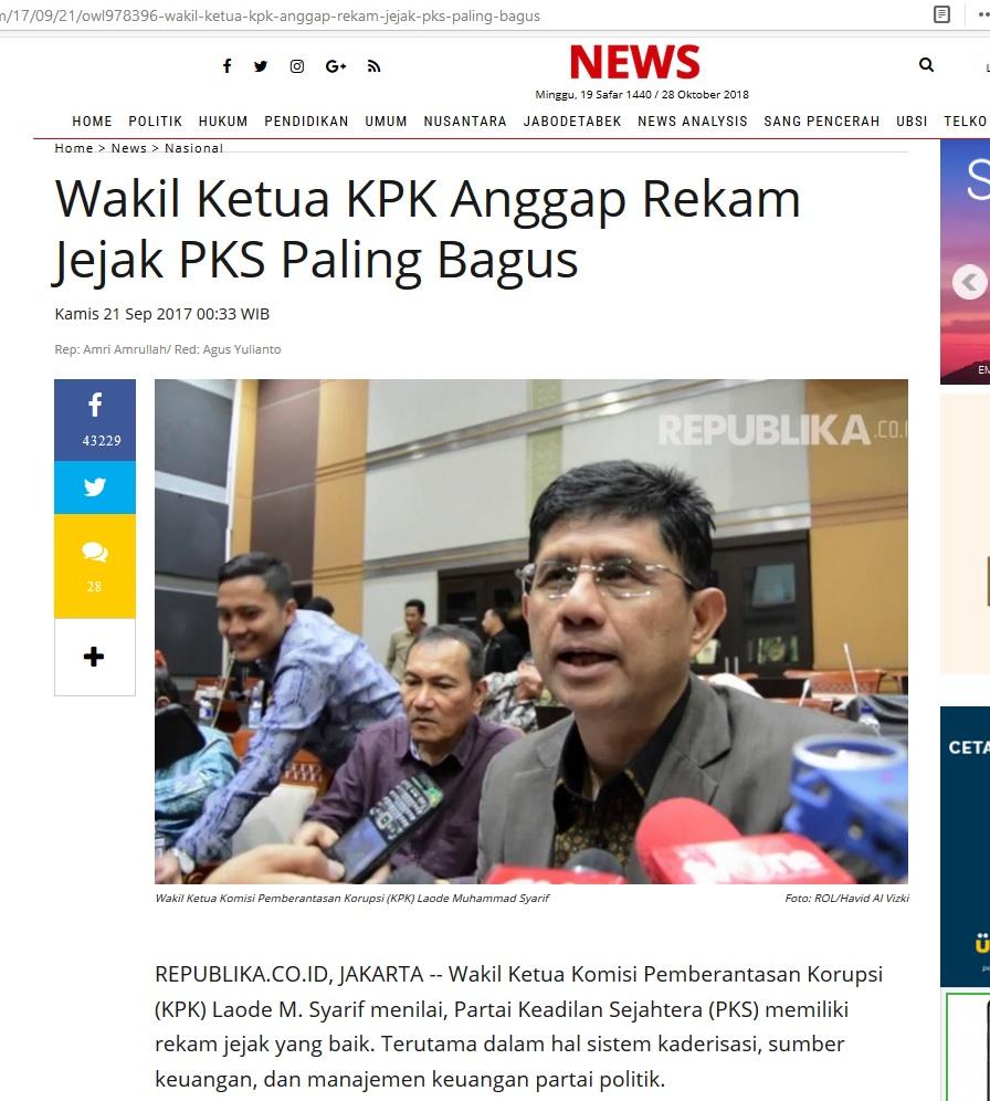 Wakil Ketua KPK Anggap Rekam Jejak PKS Paling Bagus